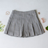 -Green, Yellow, and White Colors -Plaid Print -Pleated  -Zipper Closure -Skort (Shorts Lining)  Materials: 80% Polyester   15% Cotton   5% Spandex  HF22A591 SKIRT GRN