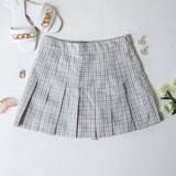 -Blue, Yellow, and Orange Colors -Plaid Print -Pleated  -Zipper Closure -Skort (Shorts Lining)  Materials: 80% Polyester | 15% Cotton | 5% Spandex  HF22A591 SKIRT BLK