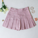 -Pink, Yellow, and White Colors -Plaid Print -Pleated  -Zipper Closure -Skort (Shorts Lining)  Materials: 80% Polyester   15% Cotton   5% Spandex  HF22A591 SKIRT PNK
