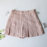 -Tan, Yellow, and White Colors -Plaid Print -Pleated  -Zipper Closure -Skort (Shorts Lining)  Materials: 80% Polyester | 15% Cotton | 5% Spandex  HF22A591 SKIRT TAN
