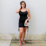 -Black Color -Spagetti Straps -Open Back -Ruching Up Sides -Drawstring at Bottom (Adjustable Length) -Dress  Materials: 95% Polyester | 5% Spandex  FS22A085 DRESS BLK