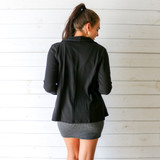 -Solid Black Color -Round Collar -Open Front -Long Sleeves -Blazer  Materials: 95% Polyester   5% Spandex  HMST0202 BLZR BLK