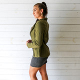-Olive Green Color -Round Collar -Open Front -Long Sleeves -Blazer  Materials: 95% Polyester | 5% Spandex  HMST0202 BLZR OLV