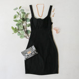 -Black Color -Stretch Twill Material -Ruched Bust -Open Back with Tie -Zipper Closure -Slide Slit at Leg -Dress  Materials: 68% Rayon | 27% Nylon | 5% Spandex  BM6010 DRESS BLK