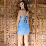 -Baby Blue Color -Stretch Twill Material -Ruched Bust -Open Back with Tie -Zipper Closure -Slide Slit at Leg -Dress  Materials: 68% Rayon | 27% Nylon | 5% Spandex  BM6010 DRESS BLU