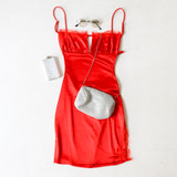 -Red Color -Silk Material -Straight Neckline -Lace Detail on Neckline -Keyhole Cutout on Bust -Spaghetti Straps (Adjustable) -Side Slit at Leg with Lace Details -Open Back with Adjustable Strap -Dress  Materials: 95% Polyester | 5% Spandex  BC2088 DRESS RED