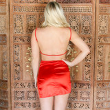 -Red Color -Silk Material -Straight Neckline -Lace Detail on Neckline -Keyhole Cutout on Bust -Spaghetti Straps (Adjustable) -Side Slit at Leg with Lace Details -Open Back with Adjustable Strap -Dress  Materials: 95% Polyester   5% Spandex  BC2088 DRESS RED