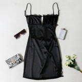 -Black Color -Silk Material -Straight Neckline -Lace Detail on Neckline -Keyhole Cutout on Bust -Spaghetti Straps (Adjustable) -Side Slit at Leg with Lace Details -Open Back with Adjustable Strap -Dress  Materials: 95% Polyester | 5% Spandex  BC2088 DRESS BLK