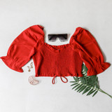 -Rust Color -Ruffle Neckline -Ruched Bodice -Bubble Short Sleeves -Can Be Worn On/Off Shoulder -Drawstring Bottom -Crop Top  Materials: 100% Polyester   TGI3487 CROP RST