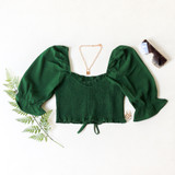 -Green Color -Ruffle Neckline -Ruched Bodice -Bubble Short Sleeves -Can Be Worn On/Off Shoulder -Drawstring Bottom -Crop Top  Materials: 100% Polyester   TGI3487 CROP GRN