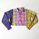 -Yellow, Pink, and Blue Patchwork -Flannel Pattern -Collar -Long Sleeve -Buttons Up Front -Raw Hem -Crop Top  Materials: 50% Cotton | 50% Polyester  TI5442 FLANL YPLD