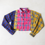 -Pink, Yellow, and Blue Patchwork -Flannel Pattern -Collar -Long Sleeve -Buttons Up Front -Raw Hem -Crop Top  Materials: 50% Cotton | 50% Polyester  TI5442 FLANL PPLD