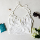 -White Color -Keyhole Cutout -Criss Cross Pattern at Hem -Fabric Stretches -Ribbed -Halter -Crop Top  Materials: 94% Rayon | 6% Spandex  TGI4073 CROP WHT