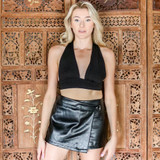 -Black Color -Ribbed Pattern -Open Back -Ties Criss Cross in Back -Deep V-Neck -Crop Top  Materials: 95% Polyester | 5% Spandex  GT4710 CROP BLK