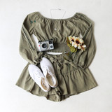 -Olive Color -Long Sleeve -Off Shoulder -Elastic Waist -Eyelet Cut-Out Down Sleeve -Bows at Wrist -Two Piece Set -Top  Materials: 100% Cotton  HF22A406 CROP OLV