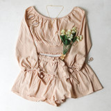 -Tan Color -Long Sleeve -Off Shoulder -Elastic Waist -Eyelet Cut-Out Down Sleeve -Bows at Wrist -Two Piece Set -Top  Materials: 100% Cotton  HF22A406 CROP TAN