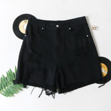-Black Color -Distressed -Front & Back Pockets -Belt Loops -High Waisted -Raw Hem with Fringe -Button Zipper Closure -Bermuda Length -Shorts  Materials: 100% Cotton  HF21G008 SHORT BLK