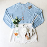 -Baby Blue Color -Waffle Knit Texture -Crew Neck -Raw Hem -Boxy Fit -Long Sleeve -Top  Materials: 60% Polyester   32% Rayon   8% Spandex  DZ21E954 TOP BLU