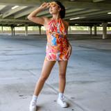 -Orange, Blue, and White Trippy Pattern -Halter Dress -Open Back -Halter is Adjustable -Knee Length -Dress  Materials: 95% Polyester | 5% Spandex  TRIPPY DRESS MULTI