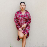 -Red, Black, and White Plaid -Flannel Material -Buttons Up Front -Asymmetrical Hem -Collar -Pockets -Tunic -Dress  Materials: 80% Polyester | 20% Cotton  HF21G707 DRESS REDP