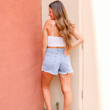 -Light Wash Denim -High Waisted -4 Buttons Up Front -Front & Back Pockets -Belt Loops -Distressed -Raw Hem -Shorts  Materials: 100% Cotton  CP5763 SHORT DNM