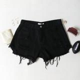 -Black Denim Wash -Zipper & Button Closure -Front & Back Pockets -Belt Loops -Distressed -Raw & Frayed Hem -Shorts  Materials: 100% Cotton  CP5768 SHORT BLK