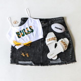 -White, Green, and Gold Color -Green & Gold Floral Bulls Print -Spagetti Straps -Elastic Waistband -Fabric Stretches -Tank Top -Crop Top  Materials: 92% Nylon | 8% Spandex  GAMEDAY 2021 USFFLWR TOP