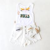 -White Bodysuit -Green & Gold Groovy Print -Racerback -Fabric Stretches -One-Piece (No Closure) -Bodysuit  Materials: 92% Nylon | 8% Spandex  TB0154 W/BULL BODYSUIT