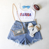 -White Color -Orange and Blue Trippy Florida Print -Spaghetti Straps (Non Adjustable) -Elastic Waistband -Fabric Stratches -Crop Top  Materials: 92% Nylon | 8% Spandex   GAMEDAY 2021 UFTRIP TOP