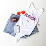 -White Bodysuit -Blue & Orange Trippy Print -Racerback -Fabric Stretches -One-Piece (No Closure) -Bodysuit  Materials: 92% Nylon | 8% Spandex  GAMEDAY 2021 UFTRIP BODYSUIT