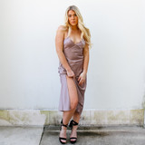 -Mauve Color -Silk Material -V-Neck -Slits in Center -Slit at Leg -Midi-Length -Straps Cross in Back -Straps are Adjustable  Materials: 97% POLYESTER | 3% SPANDEX  FS22A878 MAXI TAN