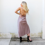 -Mauve Color -Silk Material -V-Neck -Slits in Center -Slit at Leg -Midi-Length -Straps Cross in Back -Straps are Adjustable  Materials: 97% POLYESTER   3% SPANDEX  FS22A878 MAXI TAN