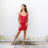 -Berry Color -Scoop Neckline -Lightweight Material -Open Back -Straps Criss Cross in Back -Straps are Adjustable -Dress  Materials: 95% Polyester | 5% Spandex   CD5762 DRESS RED