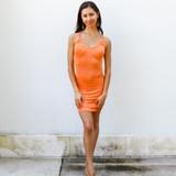 -Orange Color -Scoop Neckline -Lightweight Material -Open Back -Straps Criss Cross in Back -Straps are Adjustable -Dress  Materials: 95% Polyester | 5% Spandex   CD5762 DRESS ORG