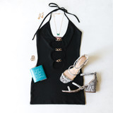 -Black Color Color -Double Cutout in Front -Ruched Down Sides -Hoops in Front -Spagetti Straps  -Short Dress -Dress  Materials: 95% Polyester | 5% Spandex   RING DRESS BLK
