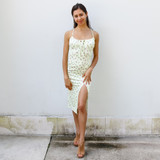 -Yellow Color -Pink and Green Floral Pattern -Scoop Neckline -Ties in Front -Slit at Leg -Midi Length -Dress  Materials: 83% Polyester | 17% Spandex   MIDI DRESS YELF