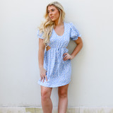 -Baby Blue Color -Floral Pattern -Scoop Neckline -Puff Sleeves -Short Sleeves -Ruffle at Sleeve -Ties at Waist -Cutouts at Waist -Dress  Materials: 100% Polyester  PUFF DRESS BLUF