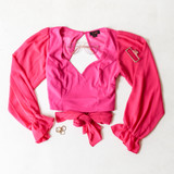 -Hot Pink Color -Sweetheart Neckline -Open Back -Long Tie in Back -Long Sleeve -Elastic Cuff at Wrist -Chiffon Material -Top  Materials: 100% Polyester  FS22A977 TOP PNK