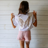 -White Color -Crew Neck -Transparent Butterfly Design on Back -Boxy Fit -Short Sleeve -Crop Top -Top  Materials: 65% Polyester   30% Cotton   5% Spandex  CT5760 TEE WHT