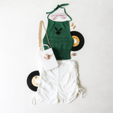 -Green Color -Black Playboy Print -Halter Top -Elastic at Bottom -Halter Ties at Neck  Materials: 100% Acrylic  CSW5980 DRESS GRN
