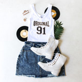-White Color -Black and Gold Print -Ribbed -Crop Top -Tank  Materials: 69% Polyester   31% Cotton  CT5764 TANK BBW