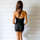 -Black Color -Gold Chain Link -Three Cutouts Down Front -Halter Top -Mini Dress -Dress  Materials: 95% Polyester   5% Spandex  CUTOUT DRESS BLK