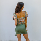 -Floral Pattern -Puff Sleeves -Ties in Front -Sweetheart Neckline -Ruched Waist -Ruched Back -Crop Top  Materials: 95% Polyester | 5% Elastane   CROP PUFF TOP FLR