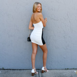 -White and Black Color -Double Cutout in Front -Double Hoop in Front -Ruched Down Sides and Back -Strapless -Dress  Materials: 95% Spandex | 5% Spandex  TUBE DRESS BW