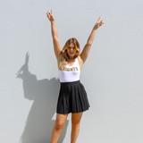 -White Bodysuit -Black and Gold Trippy Print -Racerback -Fabric Stretches -One-Piece (No Closure) -Bodysuit  Materials: 92% Nylon | 8% Spandex  GAMEDAY 2021 UCFTRIP BODYSUIT