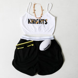 -White Color -Black & Gold Floral Knights Print -Spagetti Straps -Elastic Waistband -Fabric Stretches -Tank Top -Crop Top  Materials: 92% Nylon | 8% Spandex  GAMEDAY 2021 UCFFFLWR TOP