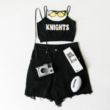 -Black Color -White & Gold Print -Spagetti Straps -Elastic Waistband -Fabric Stretches -Tank Top -Crop Top  Materials: 92% Nylon | 8% Spandex  GAMEDAY 2021 UCFFLWR TOP