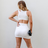 -White Color -Ribbed  -Cutout at Neck -Double Strap on One Side -Open Back -Fabric Stretches -One Size Fits All -Dress  Materials: 95% Cotton | 5% Spandex  CD5985 DRESS WHT ONE SIZE