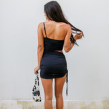 -Black Color -Strap on One Side -Adjustable Strap -Cutout at Waist -Fabric Stretches -One Size Fits All -Drawstring on One Side -Length is Adjustable -Dress  Materials: 88% Polyester   12% Spandex  CD5992 DRESS BLK ONE SIZE