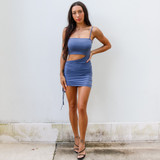 -Powder Blue Color -Strap on One Side -Adjustable Strap -Cutout at Waist -Fabric Stretches -One Size Fits All -Drawstring on One Side -Length is Adjustable -Dress  Materials: 88% Polyester | 12% Spandex  CD5992 DRESS BLU ONE SIZE